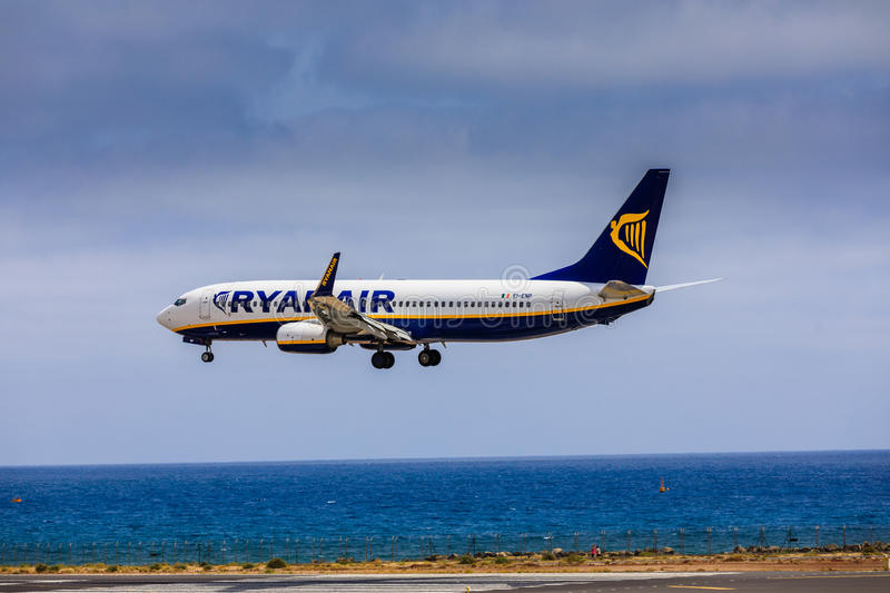 ARECIFE, SPAIN - APRIL, 15 2017: Boeing 737-800 of RYANAIR with. The registration EI-ENP landing at Lanzarote Airport stock photos