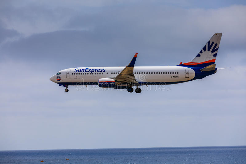 ARECIFE, SPAIN - APRIL, 15 2017: Boeing 737 - 800 of SunExpress. With the registration D-ASXR landing at Lanzarote Airport stock photos