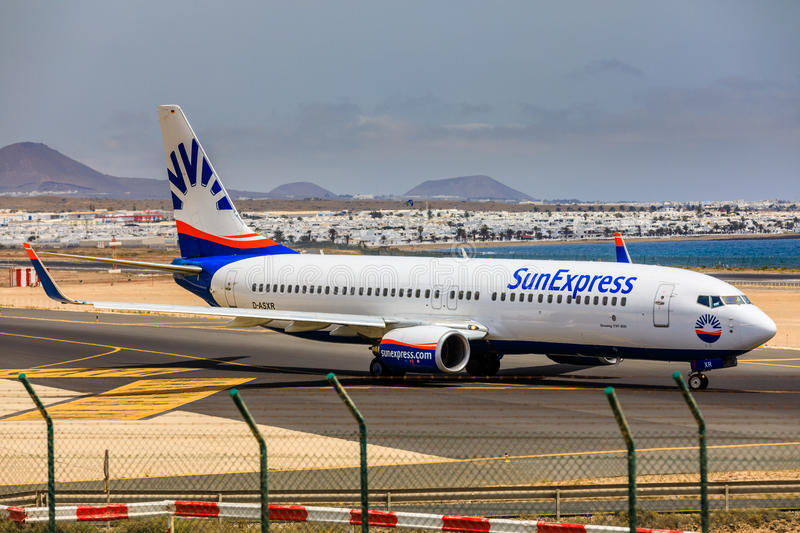 ARECIFE, SPAIN - APRIL, 15 2017: Boeing 737 - 800 of SunExpress. With the registration D-ASXR ready to take off at Lanzarote Airport royalty free stock photography