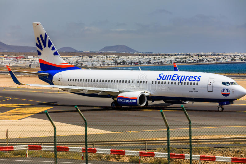 ARECIFE, SPAIN - APRIL, 15 2017: Boeing 737 - 800 of SunExpress. With the registration D-ASXR ready to take off at Lanzarote Airport royalty free stock image