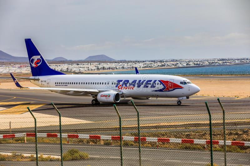 ARECIFE, SPAIN - APRIL, 15 2017: Boeing 737-800 of TRAVEL Service with the registration OK-TVE ready to take off at Lanzarote Air. Port stock images