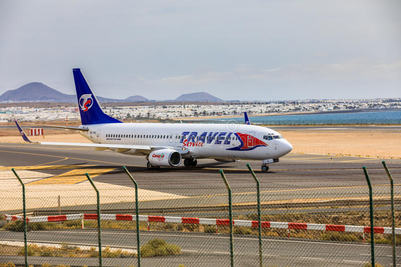 ARECIFE, SPAIN - APRIL, 15 2017: Boeing 737-800 of TRAVEL Service with the registration OK-TVE ready to take off at Lanzarote Air. Port stock image