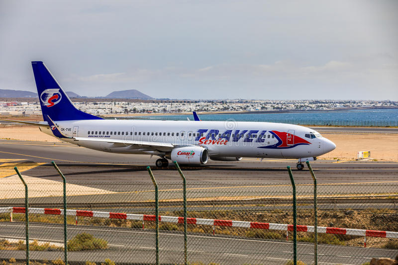 ARECIFE, SPAIN - APRIL, 15 2017: Boeing 737-800 of TRAVEL Service with the registration OK-TVE ready to take off at Lanzarote Air. Port royalty free stock photos
