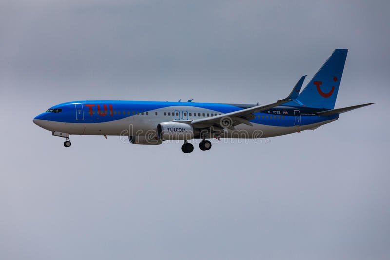 ARECIFE, SPAIN - APRIL, 16 2017: Boeing 737-800 of TUI with the. Registration G-FDZB landing at Lanzarote Airport royalty free stock images
