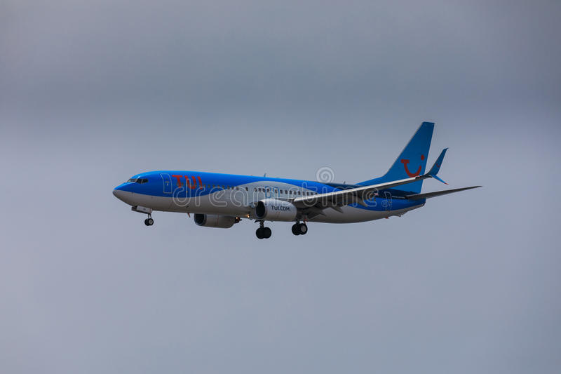 ARECIFE, SPAIN - APRIL, 16 2017: Boeing 737-800 of TUI with the. Registration G-FDZB landing at Lanzarote Airport royalty free stock photo