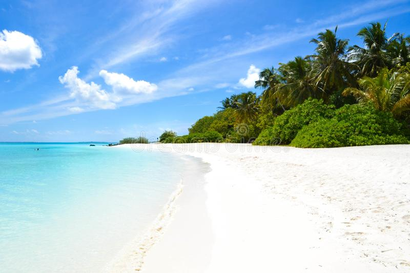 Areia branca e oceano azul, Maldivas fotos de stock