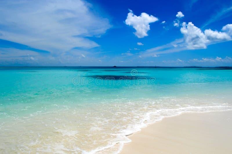 Areia branca e oceano azul, Maldivas foto de stock royalty free