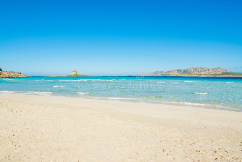 Areia branca na praia de Pelosa do La imagens de stock