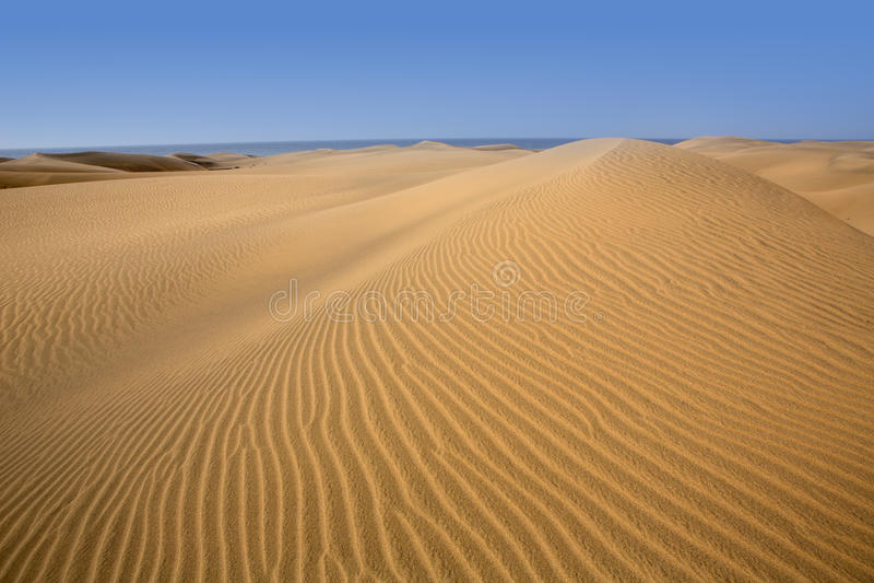 Areia das dunas do deserto em Maspalomas Gran Canaria fotografia de stock royalty free