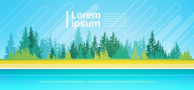 Areia das madeiras do céu de Forest Trees On River Bank da montanha da paisagem do verão ilustração stock