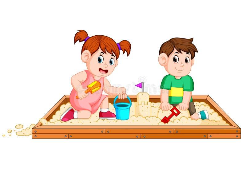 Areia do jogo de crianças felizmente ilustração stock