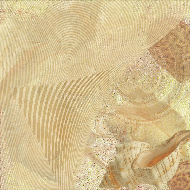 Areia e escudo do mar ilustração do vetor