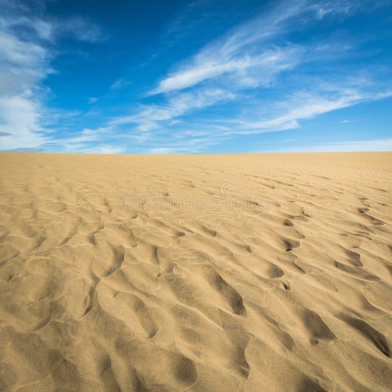 Areia nas dunas de Maspalomas, um deserto pequeno em Gran Canaria, Espanha Areia e céu fotos de stock royalty free
