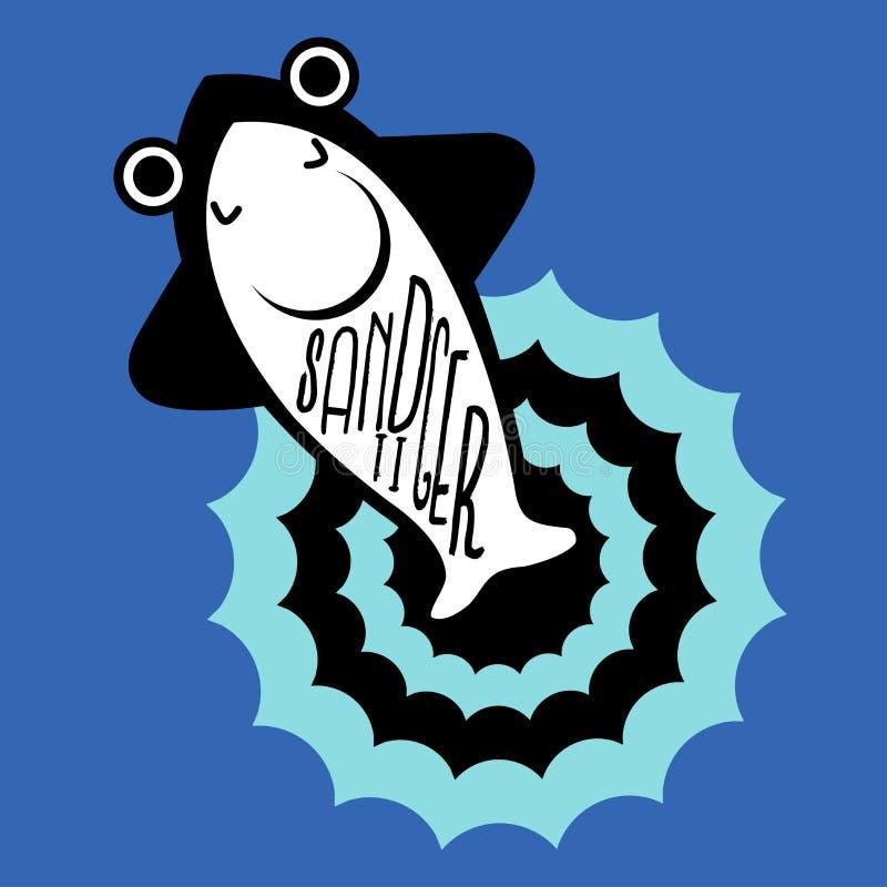 Areia Tiger Shark ilustração stock