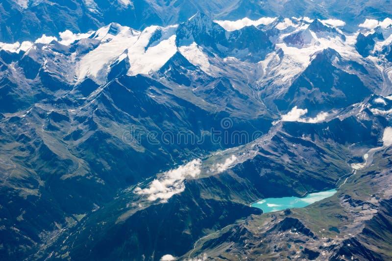 Areial视图穆瓦里湖-瑞士 免版税库存照片