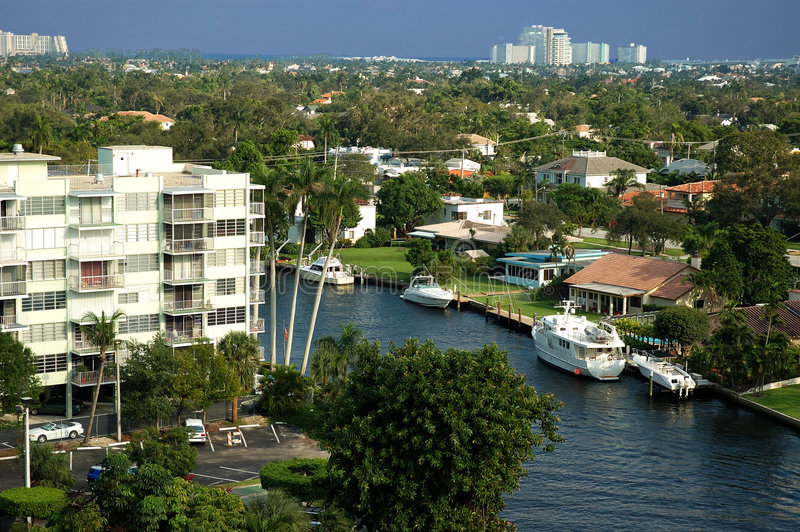 areial view of florida canal stock photography