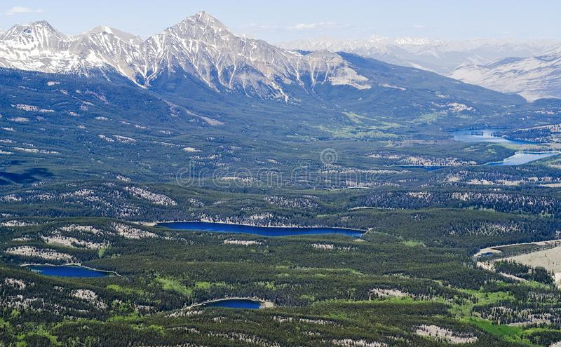 Areial view of Jasper lakes from the top of Whistler mountain - Jasper national park, Canada royalty free stock photography