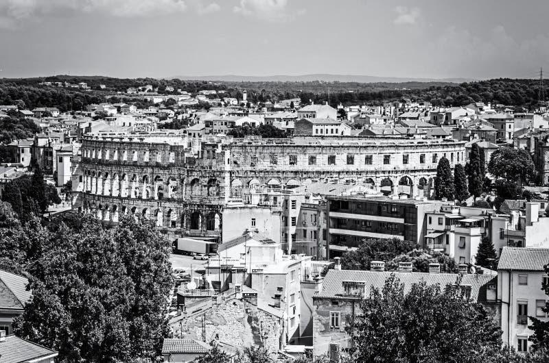 Arena antica in Pola, Istria, Croazia, incolore fotografie stock