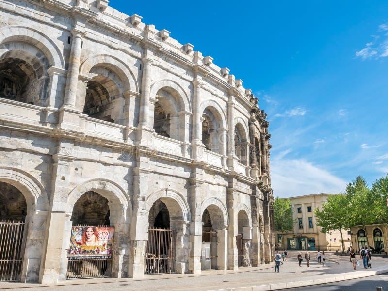 Arena av Nimes, Frankrike arkivfoto