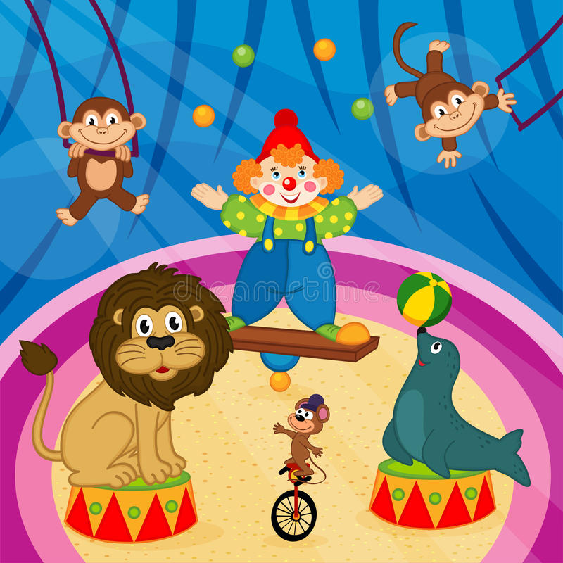 Arena in circus with animals and clown vector illustration