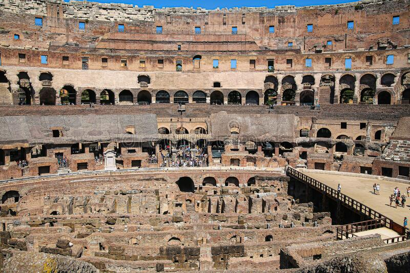 Arena of the Coliseum, the largest amphitheater of the Ancient World. Rome, Italy, 08.24.2019. Arena of the largest and most majestic amphitheater of the Ancient royalty free stock photos