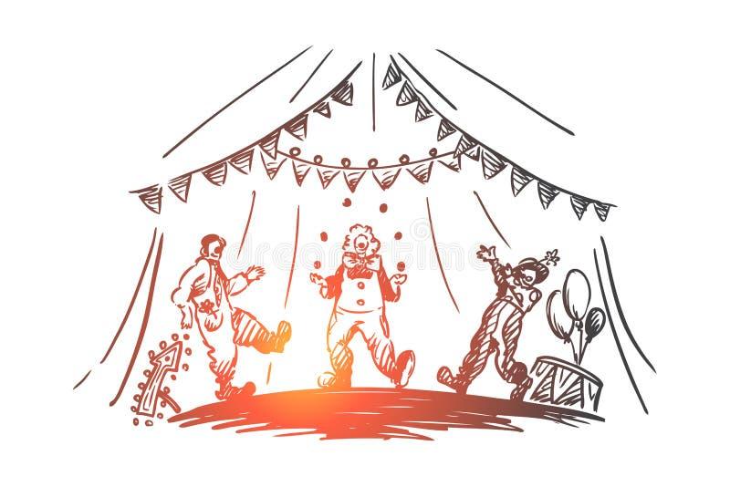 Arena, cyrk, błazen, przedstawienia pojęcie Ręka rysujący odosobniony wektor ilustracja wektor