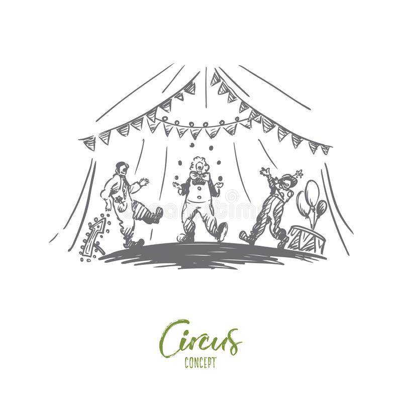 Arena, cyrk, błazen, przedstawienia pojęcie Ręka rysujący odosobniony wektor ilustracji