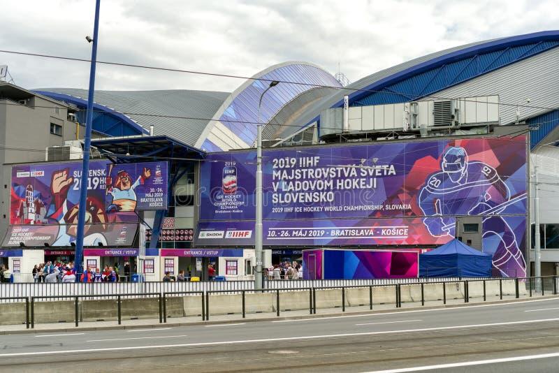 Arena de acero durante campeonato del mundo de IIHF en Kosice, Eslovaquia imagenes de archivo