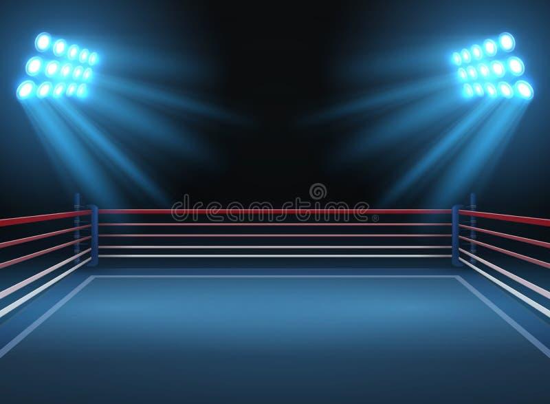 Arena de deporte de lucha vacía Fondo dramático del vector de los deportes del ring de boxeo stock de ilustración