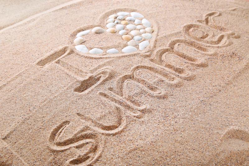 arena de la playa con las conchas marinas imágenes de archivo libres de regalías