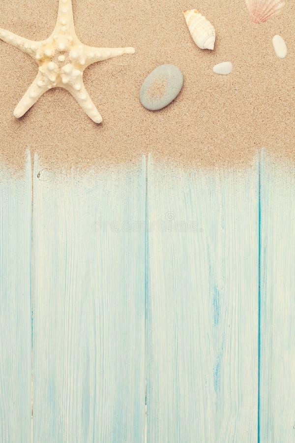 Arena de mar con las estrellas de mar y las cáscaras imagen de archivo libre de regalías