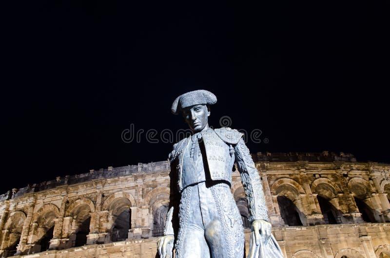 Arena de Nimes na noite foto de stock