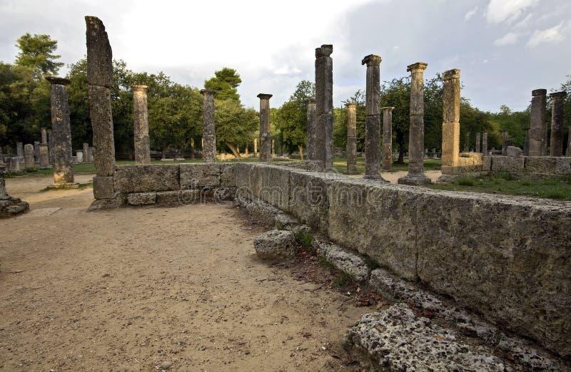 Arena de Palaistra ou de luta em Oly antigo foto de stock