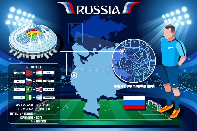 Arena de St Petersburg Zenit do campeonato do mundo de Rússia ilustração stock