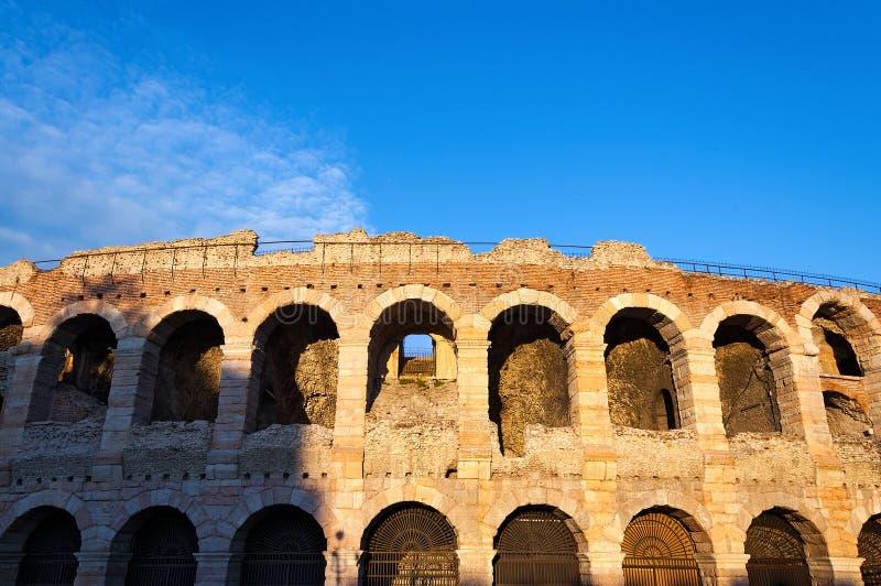 Arena de Verona no por do sol - Itália imagem de stock royalty free