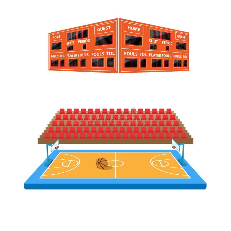 Arena del baloncesto con el marcador stock de ilustración