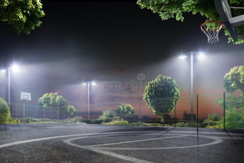 Arena del baloncesto en las luces de la noche foto de archivo