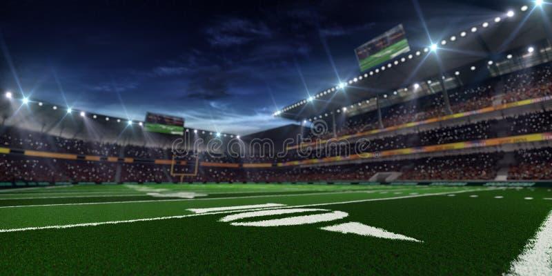 Arena del fútbol americano de la noche imagenes de archivo
