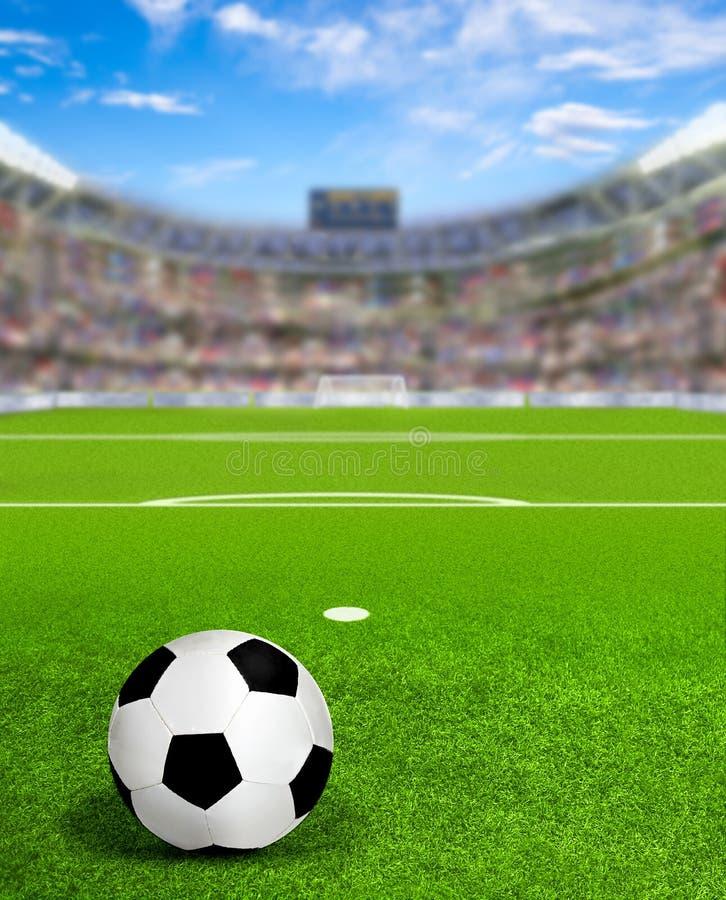 Arena del fútbol con la bola en espacio del campo y de la copia stock de ilustración