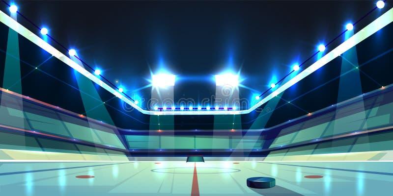Arena del hockey del vector, pista de hielo con el duende malicioso stock de ilustración