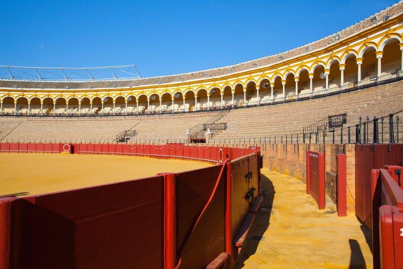 Arena di corrida, plaza de toros a Sevilla, Spagna immagine stock libera da diritti