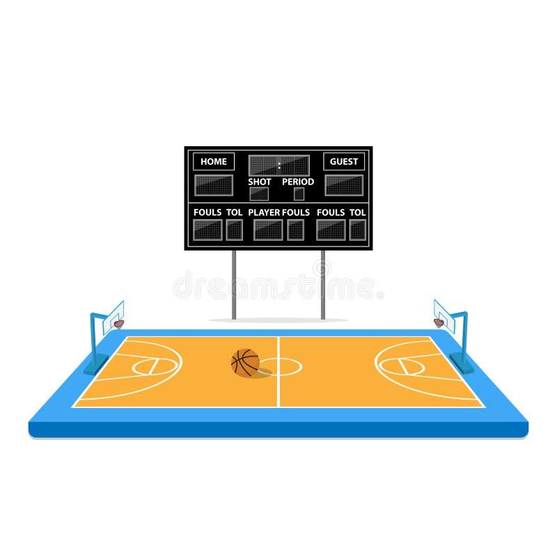 Arena di pallacanestro con il tabellone segnapunti illustrazione di stock