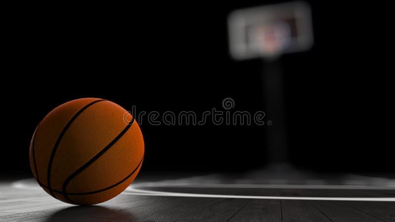 Arena di pallacanestro con la palla di pallacanestro fotografie stock