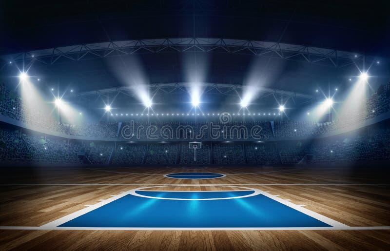 Arena di pallacanestro, rappresentazione 3d immagine stock