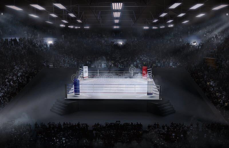 Arena di pugilato con la luce dello stadio immagini stock libere da diritti