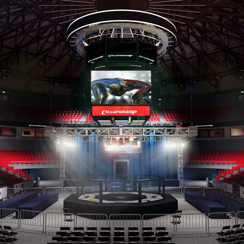Arena di pugilato con la rappresentazione della luce 3d dello stadio immagine stock