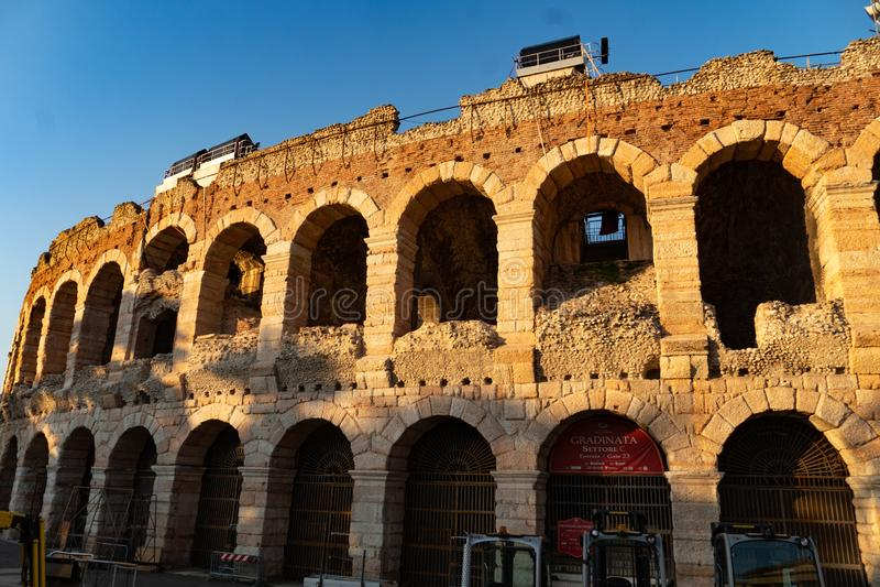 Arena di Verona, Italy. Verona, Italy - September 5, 2018: The Verona Arena, a Roman amphitheatre in Piazza Bra in Verona, Italy built in the first century stock image