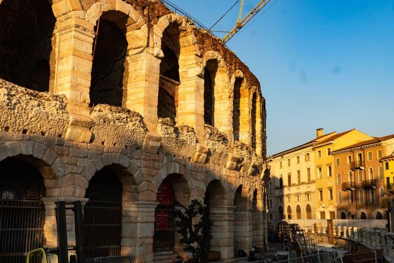 Arena di Verona, Italy. Verona, Italy - September 5, 2018: The Verona Arena, a Roman amphitheatre in Piazza Bra in Verona, Italy built in the first century stock images