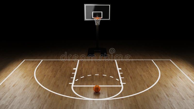 Arena do basquetebol com bola do basquetebol imagem de stock royalty free
