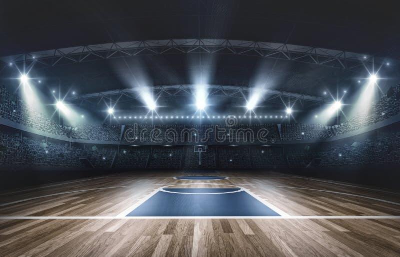 Arena do basquetebol, rendição 3d ilustração royalty free